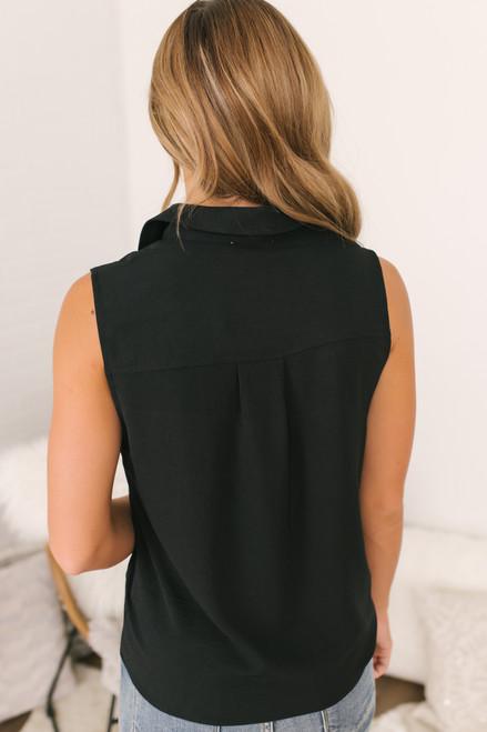 Sleeveless Button Down Knot Top - Black - FINAL SALE