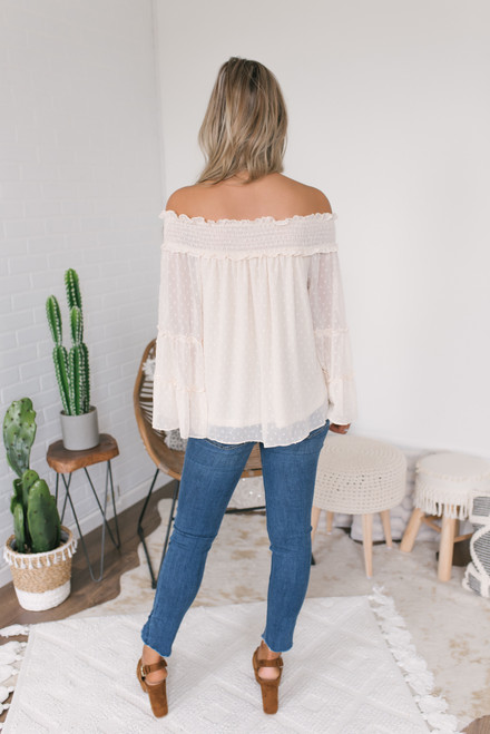 Off the Shoulder Dotted Top - Natural  - FINAL SALE