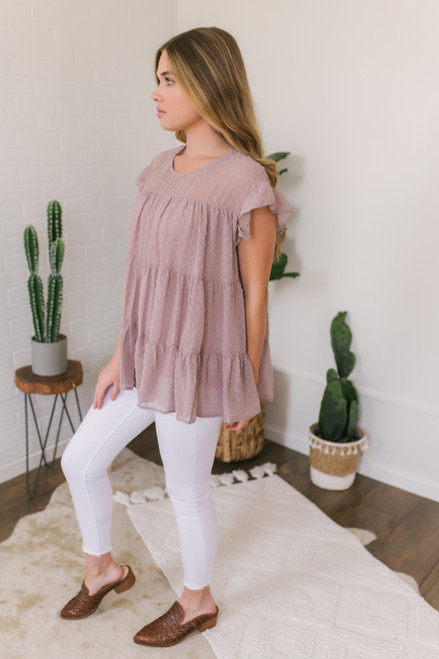 Ruffle Sleeve Tiered Dotted Top - Mauve Latte  - FINAL SALE