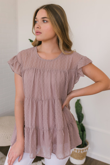 Ruffle Sleeve Tiered Dotted Top - Mauve Latte
