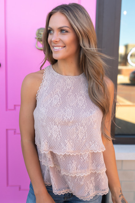 Sleeveless Lace Tiered Top - Latte  - FINAL SALE