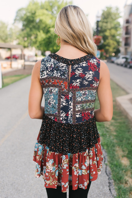 Mixed Print Tiered High Low Top - Rust Multi