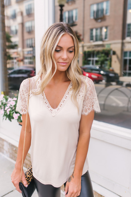 V-Neck Crochet Detail Lace Sleeve Top - Beige