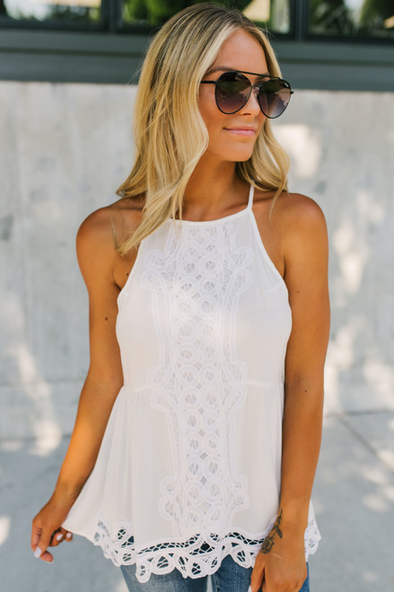 High Neck Crochet Detail Tank - White  - FINAL SALE