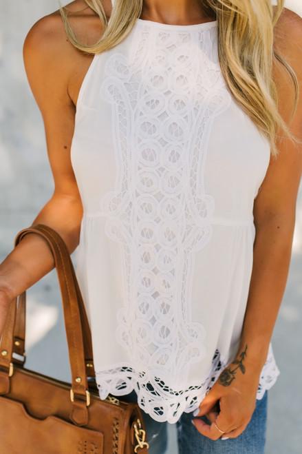 High Neck Crochet Detail Tank - White