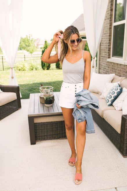 V-Neck Knit Tank - Heather Grey
