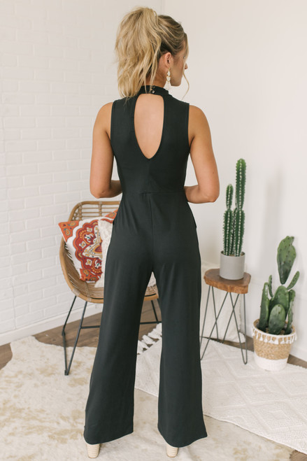 Mock Neck Keyhole Knit Jumpsuit - Black - FINAL SALE