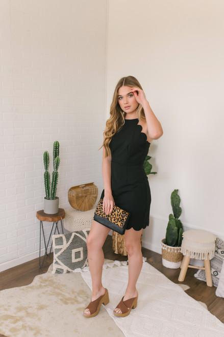 High Neck Scalloped Dress - Black - FINAL SALE