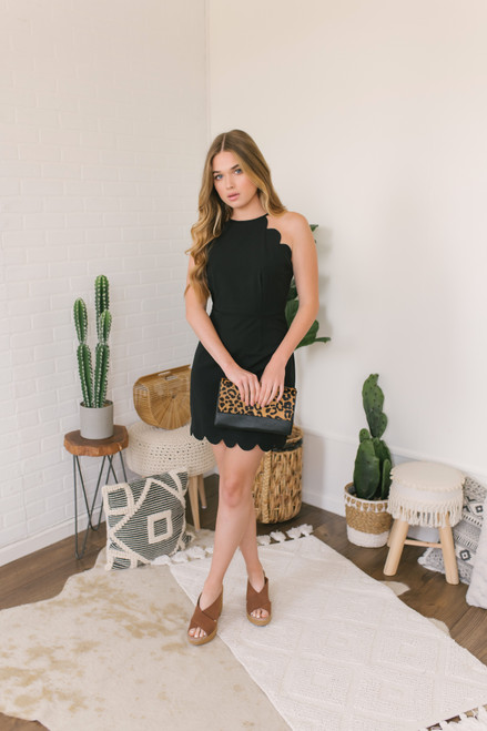 High Neck Scalloped Dress - Black - FINAL SALE