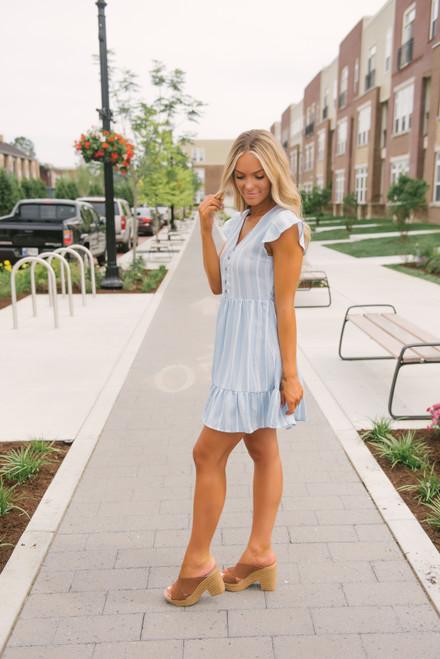 V-Neck Button Detail Ruffle Dress - Light Blue/White - FINAL SALE