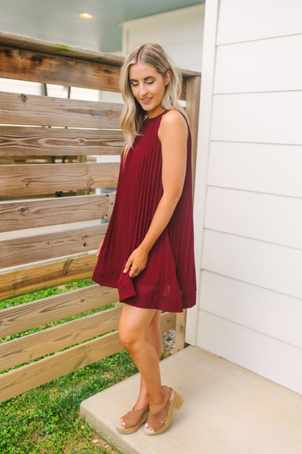 Whirlwind Romance Halter Pleated Dress - Burgundy - FINAL SALE