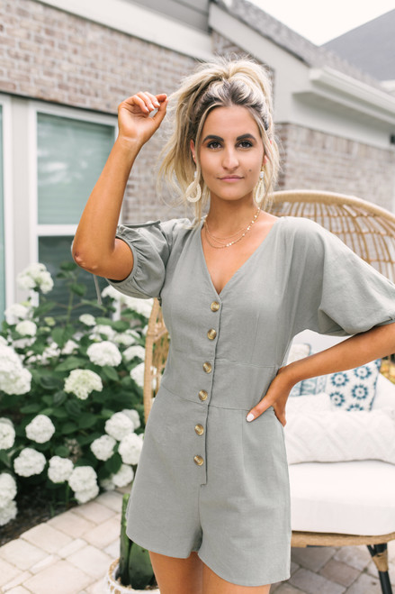 V-Neck Tie Sleeve Button Down Romper - Olive