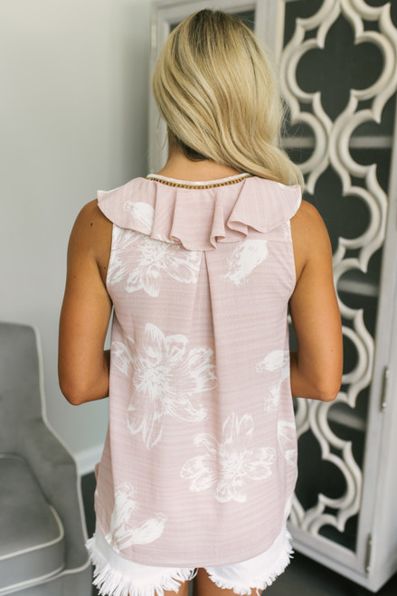 Ladder Detail Surplice Ruffle Floral Tank - Blush/White - FINAL SALE