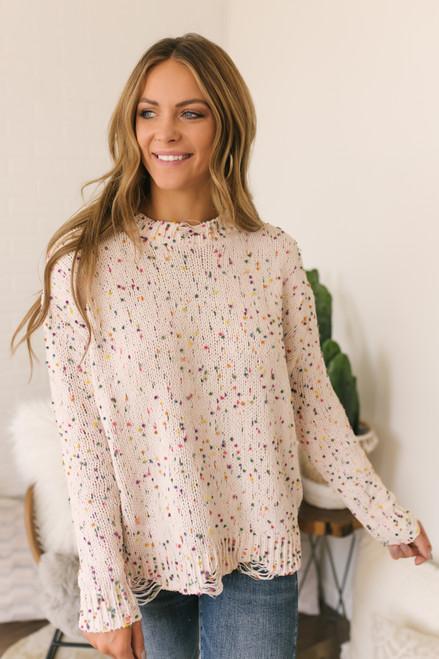 Distressed Confetti Chenille Sweater - Natural
