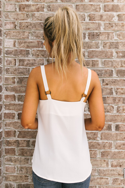 V-Neck Tortoise Detail Tank - White - FINAL SALE