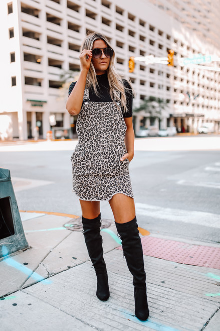 Frayed Leopard Overall Dress - Taupe - FINAL SALE