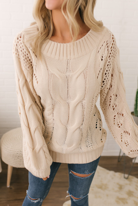 Puff Sleeve Cable Knit Sweater - Vanilla - FINAL SALE