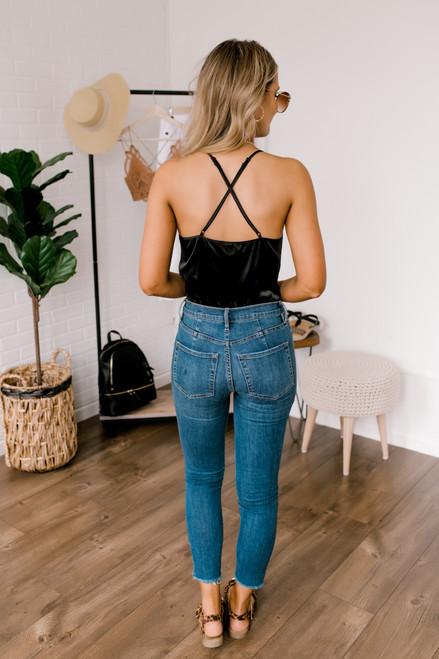 V-Neck Lace Detail Satin Bodysuit - Black - FINAL SALE
