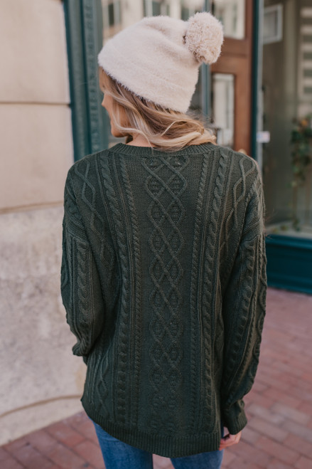 Aspen Highlands Cable Knit Sweater - Hunter Green