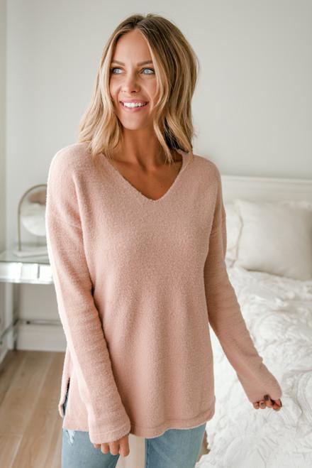 V-Neck Soft Sweater - Blush