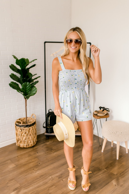 Sadie & Sage Pina Colada Romper - Blue Multi - FINAL SALE