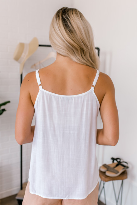 Last Call Button Detailed Tank - White