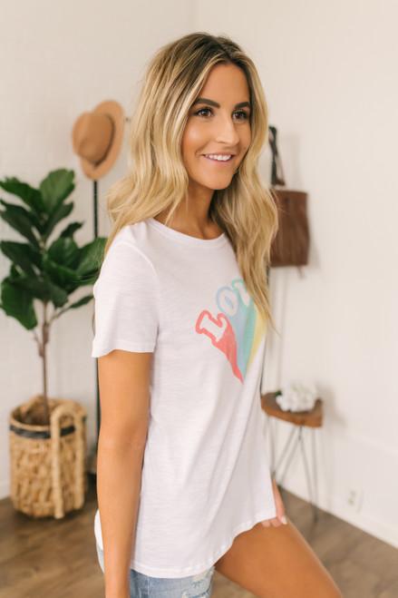 Love Pastel Rainbow Graphic Tee - White