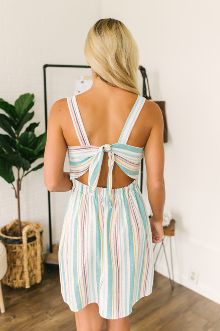 Button Detail Pastel Striped Dress - Mint Multi