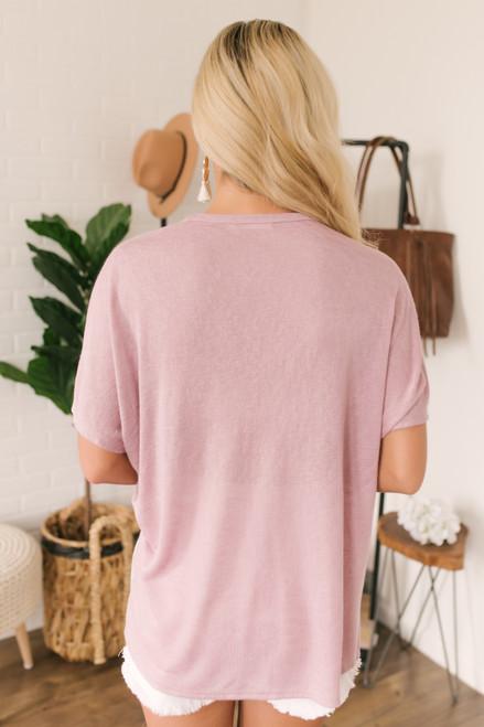 Short Sleeve Button Detail Colorblock Top - White/Mauve/Grey