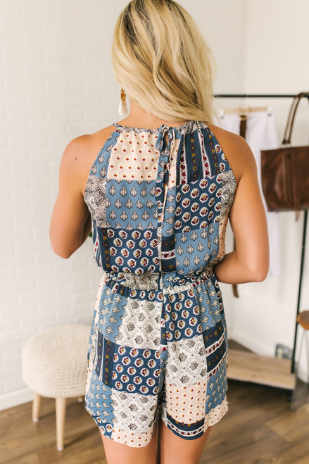 Halter Drawstring Patchwork Romper - Blue Multi - FINAL SALE
