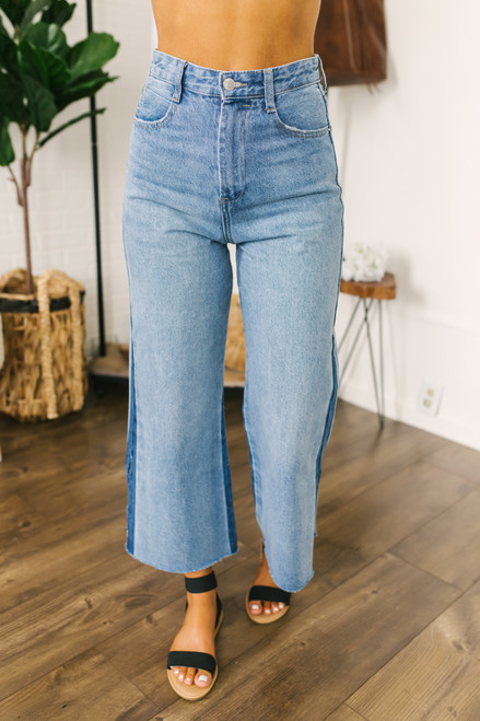 High Waist Wide Leg Crop Jeans - Medium Wash