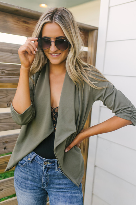 Only for You Ruched Sleeve Blazer - Olive