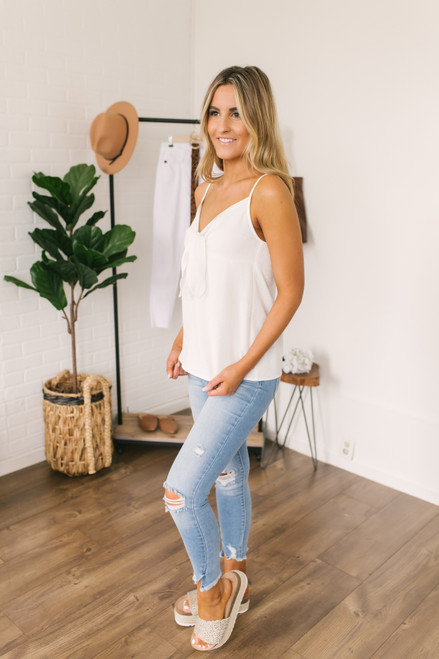 V-Neck Tie Knot Crinkle Tank - White - FINAL SALE