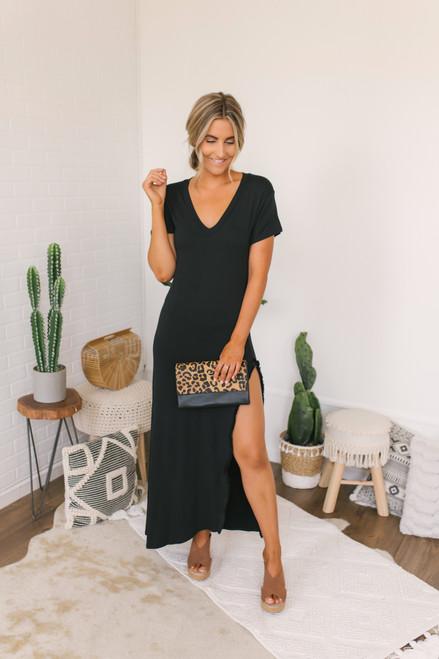 Wanderlux Alloa Fringe Maxi Dress - Black