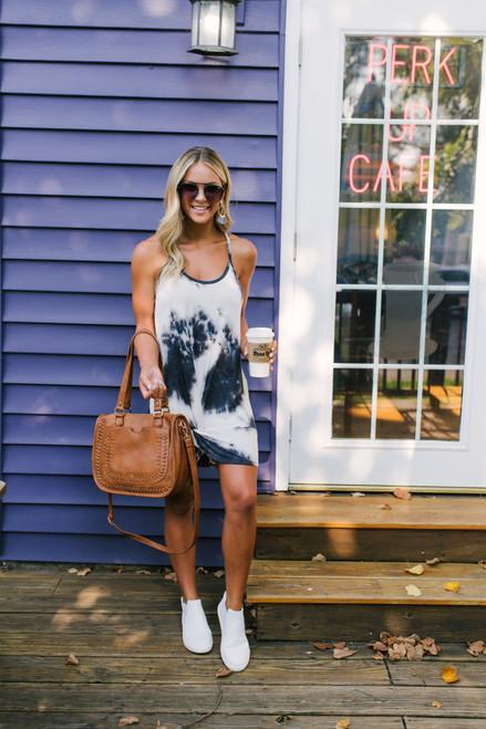 Wanderlux Brooklyn Tie Dye Tank Dress - Slate/White - FINAL SALE