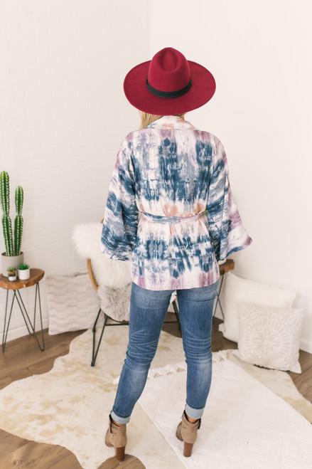 Wanderlux Lillie Kimono - Teal Drip Dye - FINAL SALE