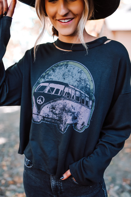 Wanderlux Peace Wagon Pullover - Black