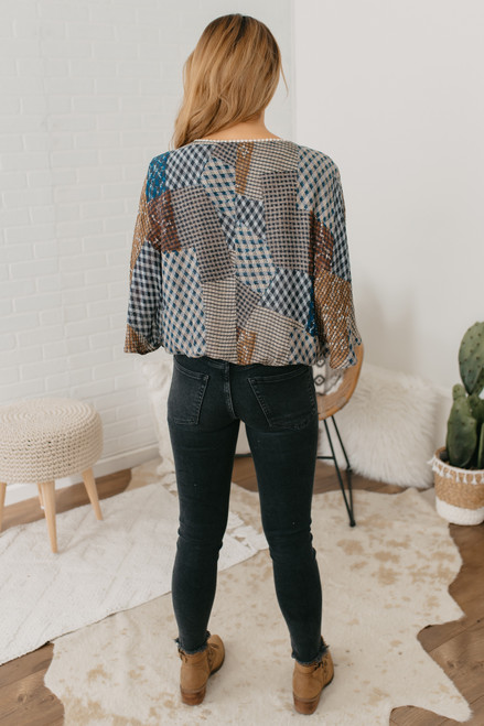 Wanderlux San Juan Surplice Top - Plaid Patchwork - FINAL SALE