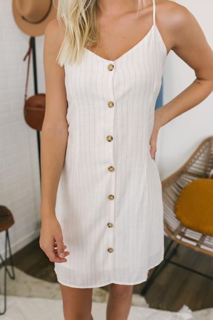 Coast to Coast Button Down Striped Dress - White/Taupe - FINAL SALE