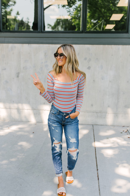 Off the Shoulder Ribbed Striped Bodysuit - Mauve/Dusty Blue - FINAL SALE