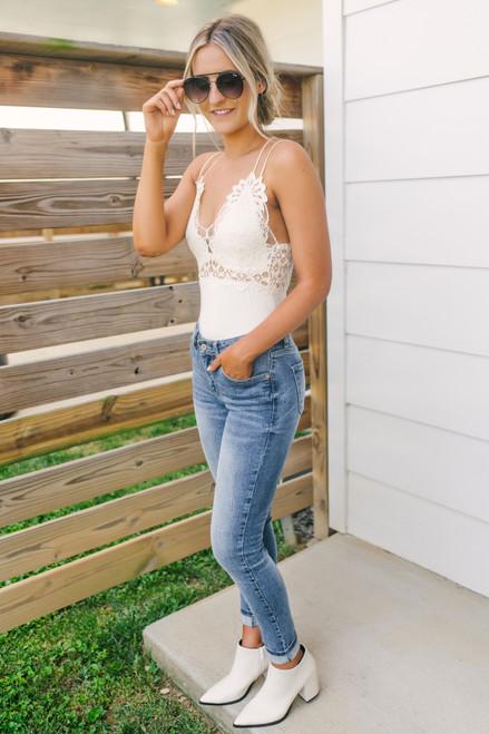 Ariana Lace Bralette Bodysuit - Ivory