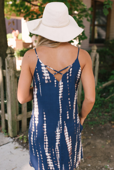 Cross Back Tie Dye Dress - Navy/Cream - FINAL SALE