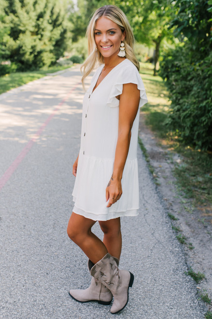 Button Down Drop Waist Snakeskin Dress - White- FINAL SALE