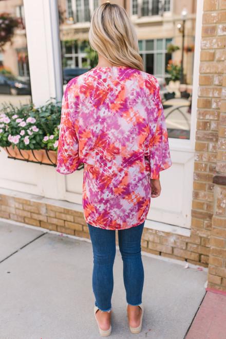 Heartbreak Hotel Tie Dye Kimono - Magenta Multi