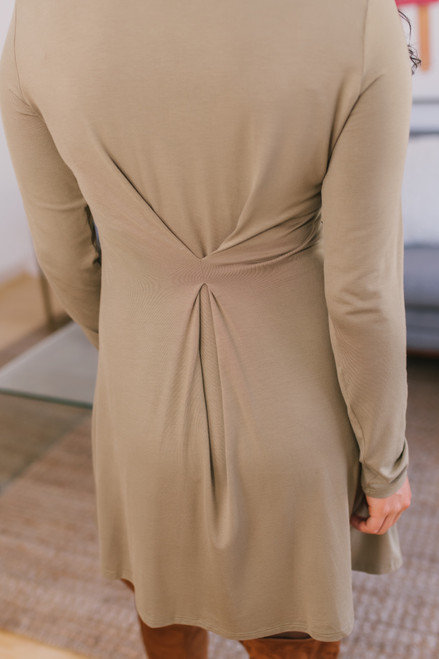 Mock Neck T-Shirt Dress - Olive