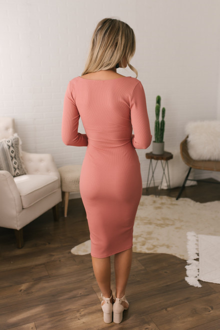 Faux Wrap Ribbed Bodycon Dress - Light Rust