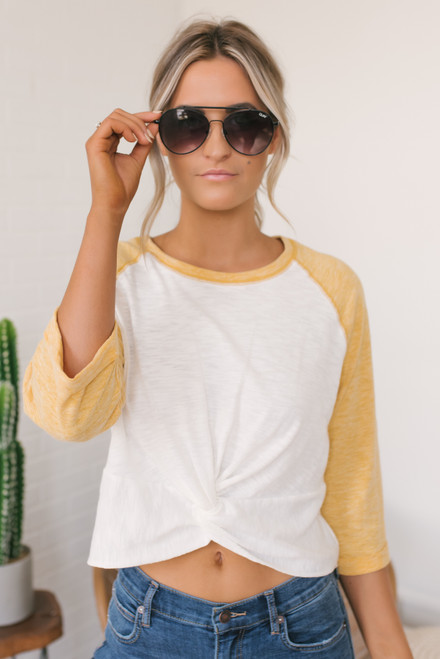Twisted Knot Raglan Tee - Mustard/White  - FINAL SALE
