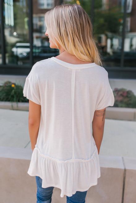 Short Sleeve Flecked Peplum Top - Ivory