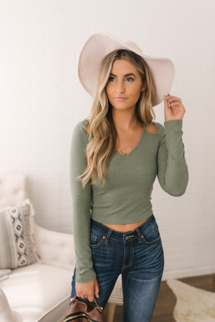 Cutout Detail Ribbed Crop Top - Olive