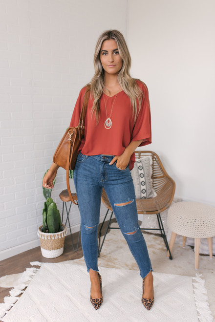 V-Neck Flare Sleeve Boxy Top - Rust  - FINAL SALE